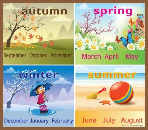ארבע עונות וחודשי השנה באנגלית